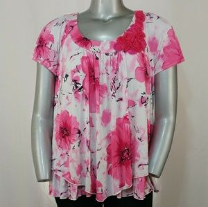 Dress Barn Stretchy Pink Floral Blouse, 3X